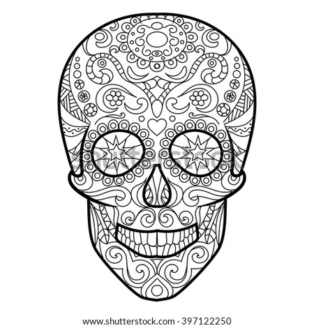 Royalty Free Stock Illustration Of Hunan Skull Coloring Book Adults