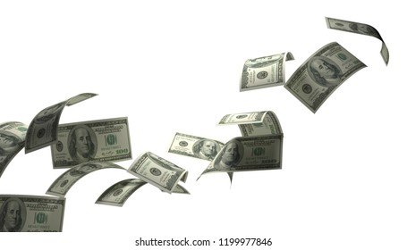 Hundred American dollar  fly left  to the rigth.3D render on white