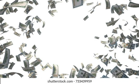 Hundred dollar banknotes, 100 US Dollar (USD) bills, banknotes flying in the air, isolated on white background, 3D Rendering,center copy space