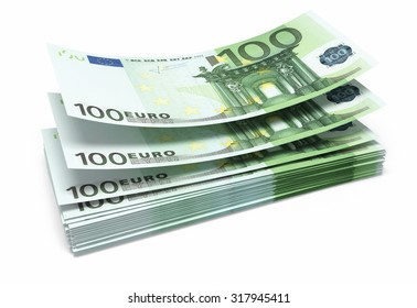 Hundred euro banknotes close-up (isolated on white and clipping path)