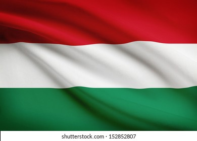 Hungarian flag blowing in the wind. Part of a series.