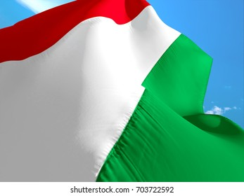 Hungary flag. 3D Waving flag design. Green, white and red flag.  The national symbol of Hungary. Hungarian National colors. National flag of Hungary for a background sign on smooth silk