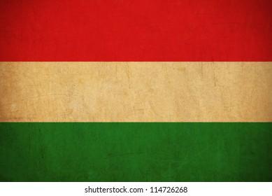 Hungary flag drawing ,grunge and retro flag series