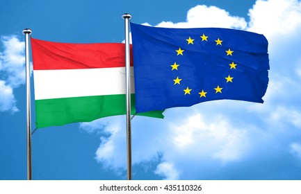 Hungary flag with european union flag, 3D rendering