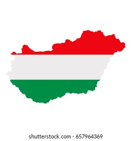 Hungary flag map. Country outline with national flag