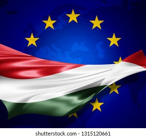 Hungary  flag of silk with copyspace for your text or images and european union flag background-3D illustration