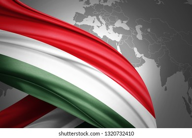Hungary flag of silk with copyspace for your text or images and world map background-3D illustration