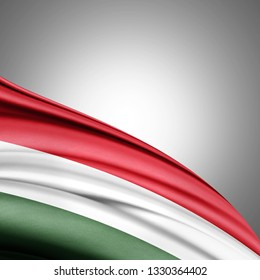 Hungary flag of silk with copyspace for your text or images and white background-3D illustration