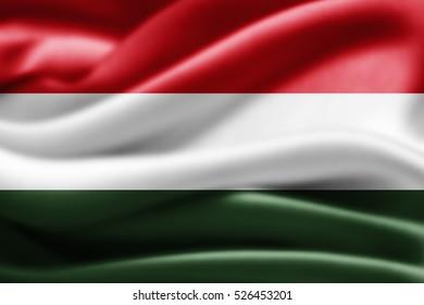 Hungary flag of silk-3D illustration