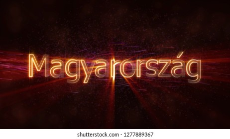 Hungary in local language Magyarorszag - Shiny rays on edge of country name text over a background with swirling and flowing stars