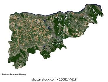 Komárom-Esztergom, Hungary Map (3D illustration)