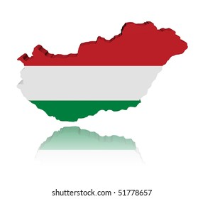 Hungary map flag 3d render with reflection illustration