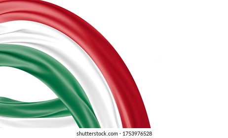 Hungary National Flag Isolated on white background with copy space. 3D illustration