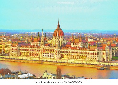 Hungary parliament and Dunube river, digital painting effect