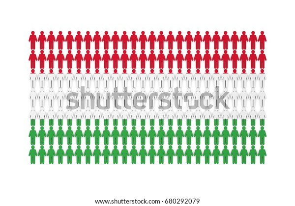 Hungary Population Concept Group Stick Figure Stock