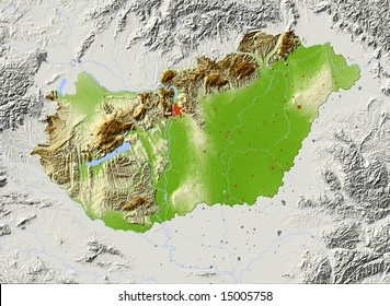Hungary. Shaded relief map with major urban areas. Surrounding territory greyed out. Colored according to elevation. Includes clip path for the state area. Data source: NASA