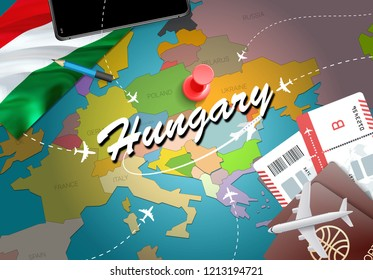 Hungary travel concept map background with planes, tickets. Visit Hungary travel and tourism destination concept. Hungary flag on map. Planes and flights to Hungarian holidays to Budapest,Debrecen