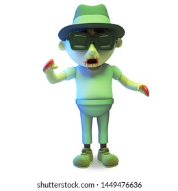 Hungover undead zombie monster wearing sunglasses and trilby hat, 3d illustration render