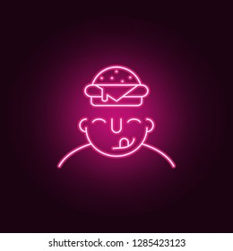 hungry on mind icon. Elements of What is in your mind in neon style icons. Simple icon for websites, web design, mobile app, info graphics