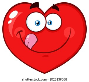 Hungry Red Heart Cartoon Emoji Face Character Licking His Lips. Raster Illustration Isolated On White Background