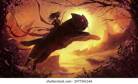 A hunter girl with demonic horns runs astride a huge fluffy cat that jumps over a canyon lit by a beautiful, setting sun against the background of magical mountains in the fog. 2d  illustration
