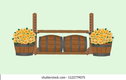 Hunter show barrel jump with yellow and orange flowers in half barrel planters and single jump standards.