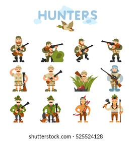Hunters illustration isolated on white background. Icon, sing. Hunters in cartoon style with different gear.