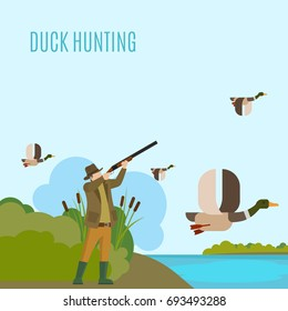 Hunting concept illustration. Duck hunting illustration with hunter and ducks