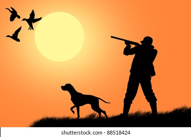Hunting dog with hunter in the background
