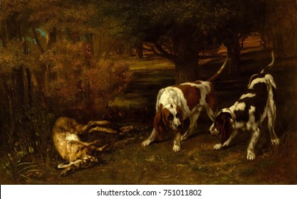 HUNTING DOGS WITH DEAD HARE, by Gustave Courbet, 1857, French painting, oil on canvas. Courbet painted the popular subjects of animals and hunting scenes, which were well received by critics and custo