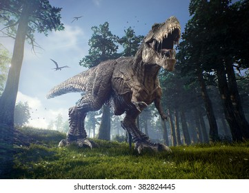 The hunting grounds of a Tyrannosaurus Rex with two Quetzalcoatlus patrolling the skies in the background.