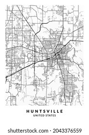 Huntsville, Alabama, United States City Map - Huntsville City Gold Map Poster Wall Art Home Decor ready to printable