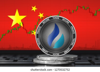 Huobi China; huobi (HT) coin on the background of the flag of China