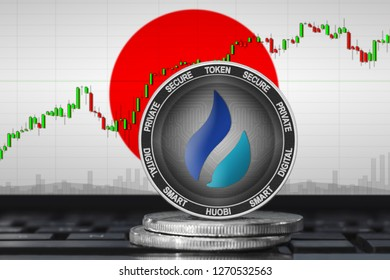 Huobi Japan; huobi (HT) coin on the background of the flag of Japan