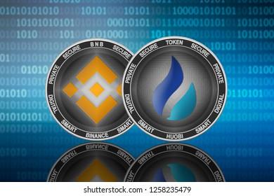 Huobi Token (HT) and Binance (BNB) coins on the binary code background; huobi vs binance