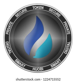 Huobi Token (HT) coin isolated on white background; huobi token cryptocurrency