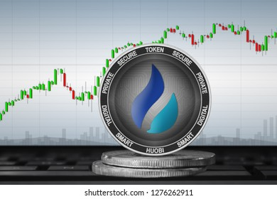 Huobi Token (HT); cryptocurrency coins - Huobi on the background of the chart. 3d illustration