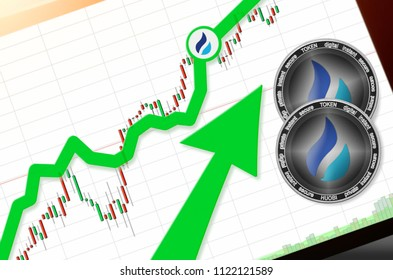 Huobi Token (HT) index rating go up on exchange market; cryptocurrency chart on tablet pc (smartphone) with arrow pointing up and coins huobi token. Place for text (prices); top view