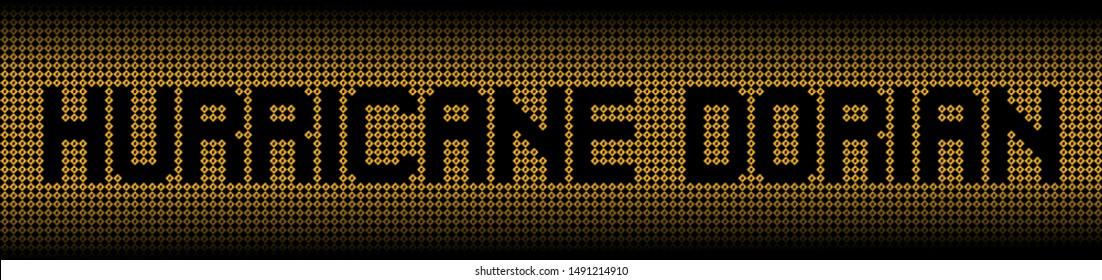 Hurricane Dorian text on warning signs illustration