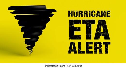 Hurricane Eta banner on yellow background. 3d illustration.