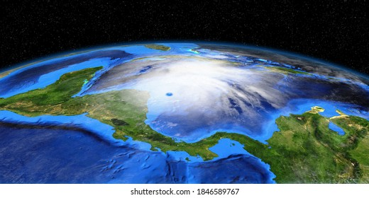 Hurricane Eta making Landfall in Nicaragua. Shot from Space. Elements of this 3D image are furnished by NASA.