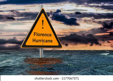 Hurricane Florence, flood concept. 3D rendering