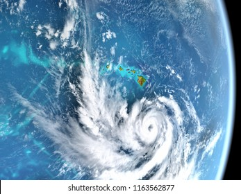 Hurricane Lane approaching Hawaii in August 2018. Satellite view. 3D illustration. Elements of this image furnished by NASA.