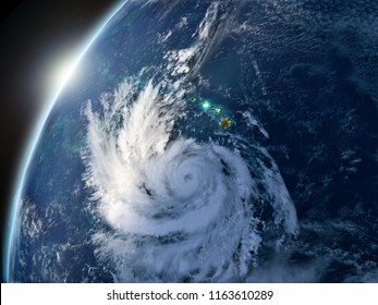 Hurricane Lane lit by setting sun approaching Hawaii. 3D illustration. Elements of this image furnished by NASA.