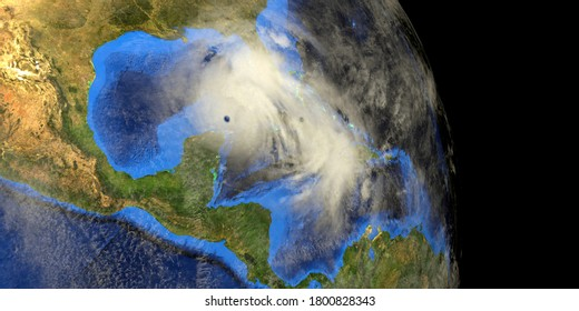 Hurricane Marco and Laura approaching USA. Earth from space. Elements of this 3d illustration are furnished by NASA.