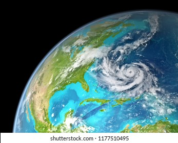 Hurricane on the east coast of USA as seen from space. Elements of this image furnished by NASA.