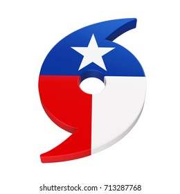 Hurricane Symbol with Texas State Flag. 3D rendering