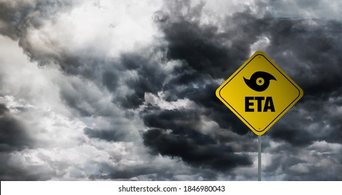 Hurricane Zeta banner with storm clouds background.