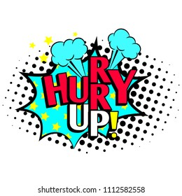 Hurry up cartoon patch, pop art style coloful icon with exclamation mark, illustration
