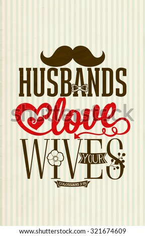 husbands love your wives bible poster stock illustration 321674609